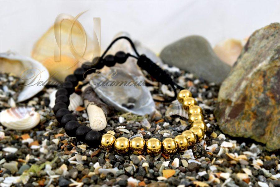 دستبند دخترانه سنگ اونیکس و فلز استیل ds-n286 از نمای کنار