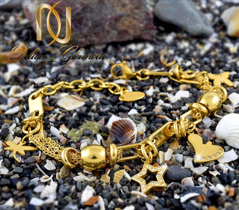دستبند زنانه آویزدار استیل طرح طلا ds-n287 از نمای پایین