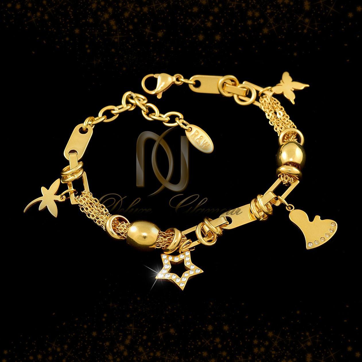 دستبند زنانه آویزدار استیل طرح طلا ds-n287 از نمای مشکی