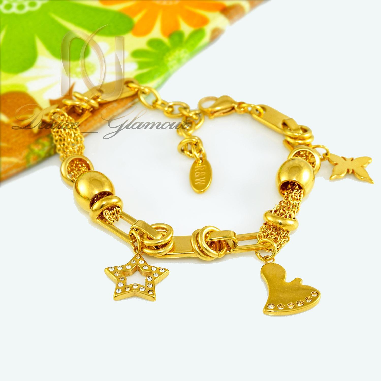 دستبند زنانه آویزدار استیل طرح طلا ds-n287 از نمای سفید