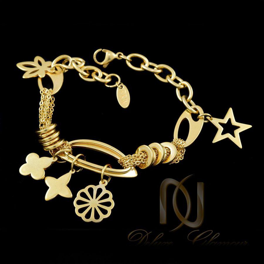 دستبند زنانه آویزدار استیل طرح طلا ds-n291