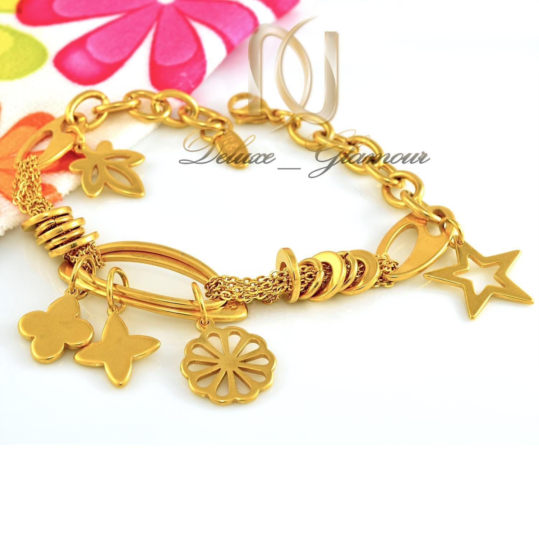 دستبند زنانه آویزدار استیل طرح طلا ds-n291 از نمای سفید