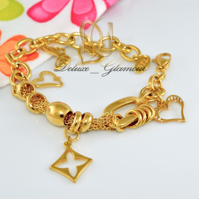 دستبند زنانه آویزدار استیل طرح طلا ds-n292 از نمای سفید