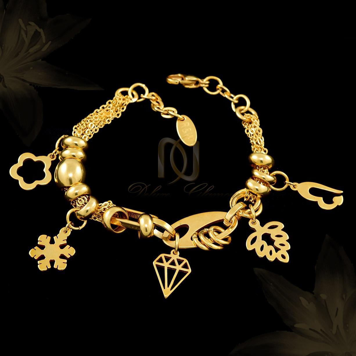 دستبند زنانه استیل آویزدار طلایی ds-n288