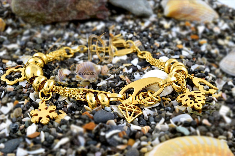 دستبند زنانه استیل آویزدار طلایی ds-n288 (3)