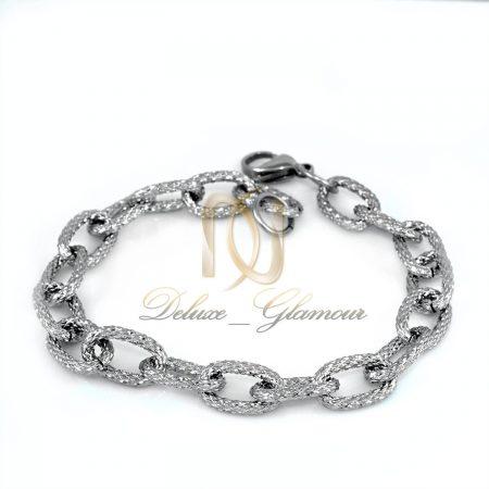 دستبند زنانه زنجیری نقره ای تراش ds-n289 از نمای سفید