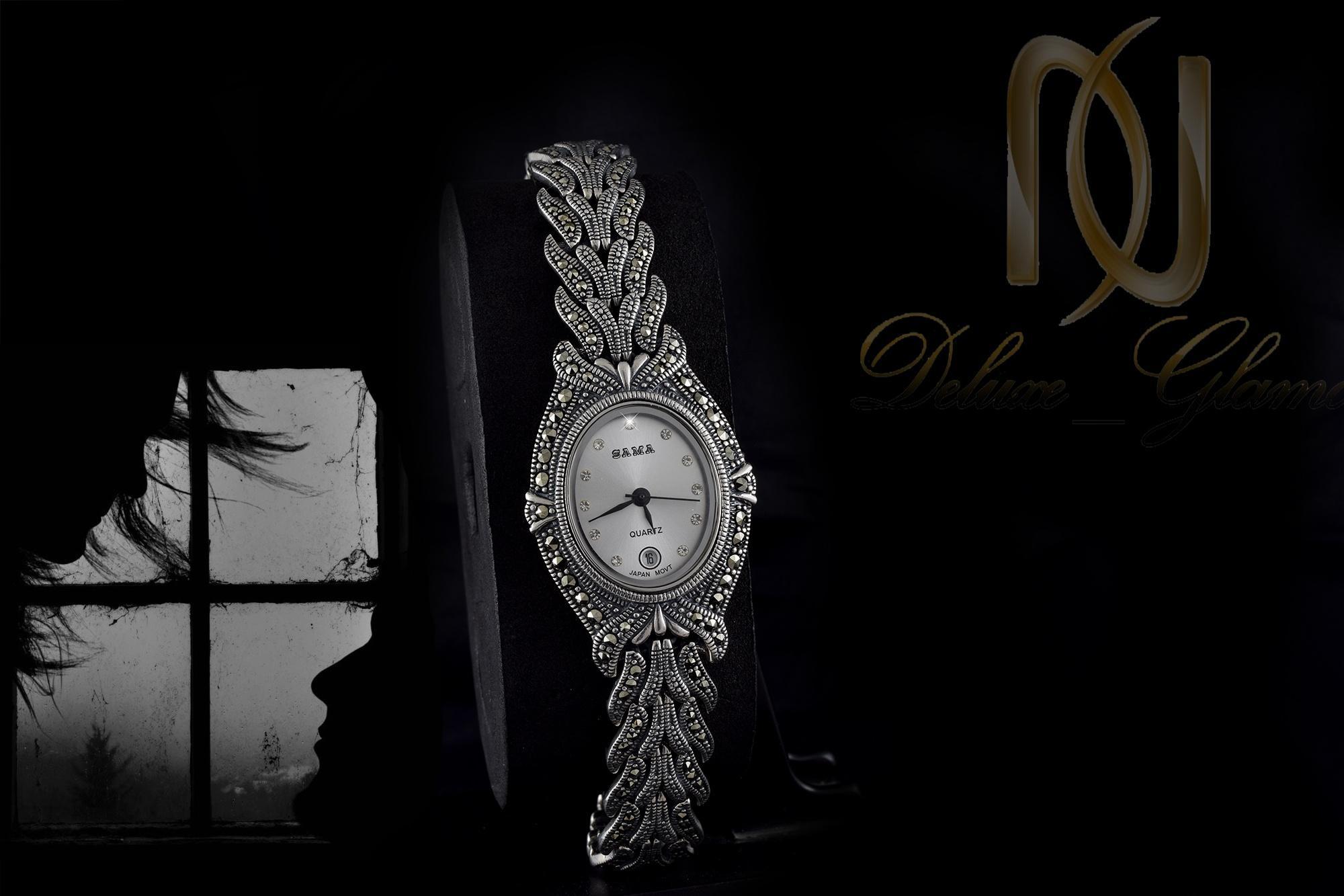 ساعت نقره زنانه با نگین های مارکازیت wh-n103 از نمای مشکی