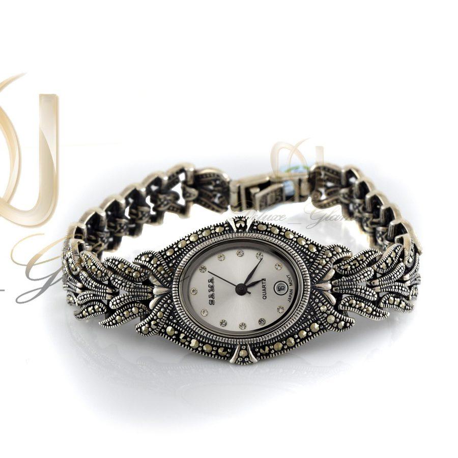 ساعت نقره زنانه با نگین های مارکازیت wh-n103 از نمای سفید