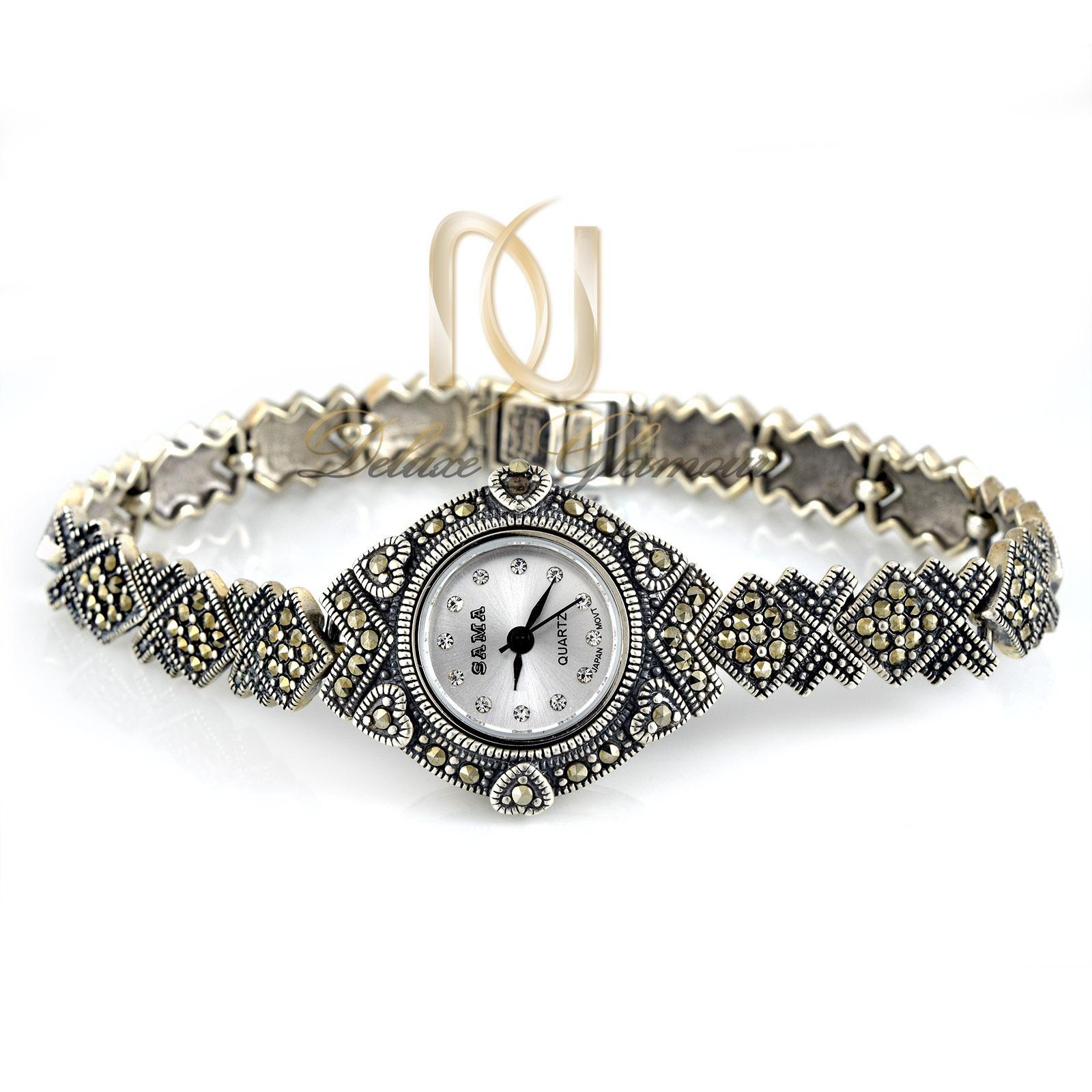 ساعت نقره زنانه سیاه قلم صفحه گرد wh-n104 از نمای روبرو