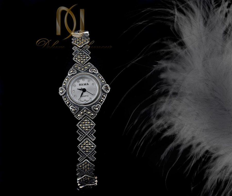 ساعت نقره زنانه سیاه قلم صفحه گرد wh-n104 از نمای جدید