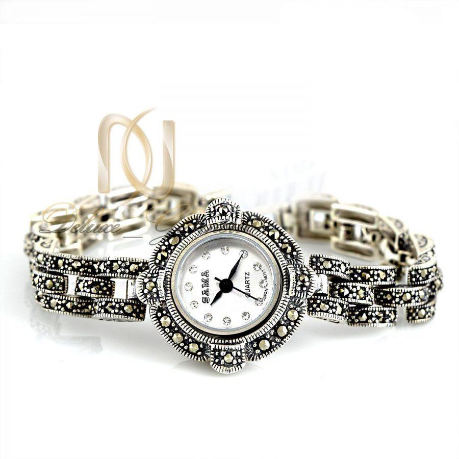 ساعت نقره زنانه سیاه قلم نگین مارکازیت wh-n106 از نمای سفید