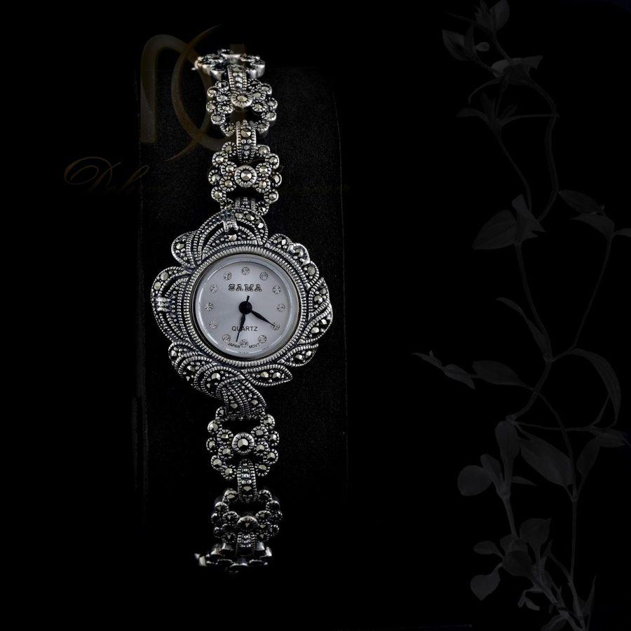 ساعت نقره زنانه سیاه قلم صفحه گرد WH-N108