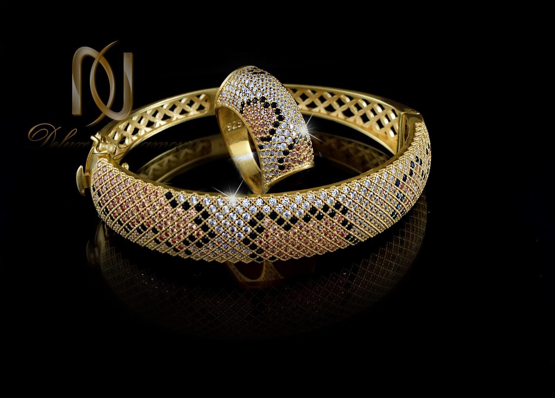 ست دستبند و انگشتر نقره طرح پوست مار ns-n233 از نماي مشكي