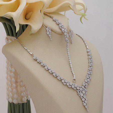 سرويس جواهري نقره طرح فلاورماركيز NS-N227 از نمای روبرو