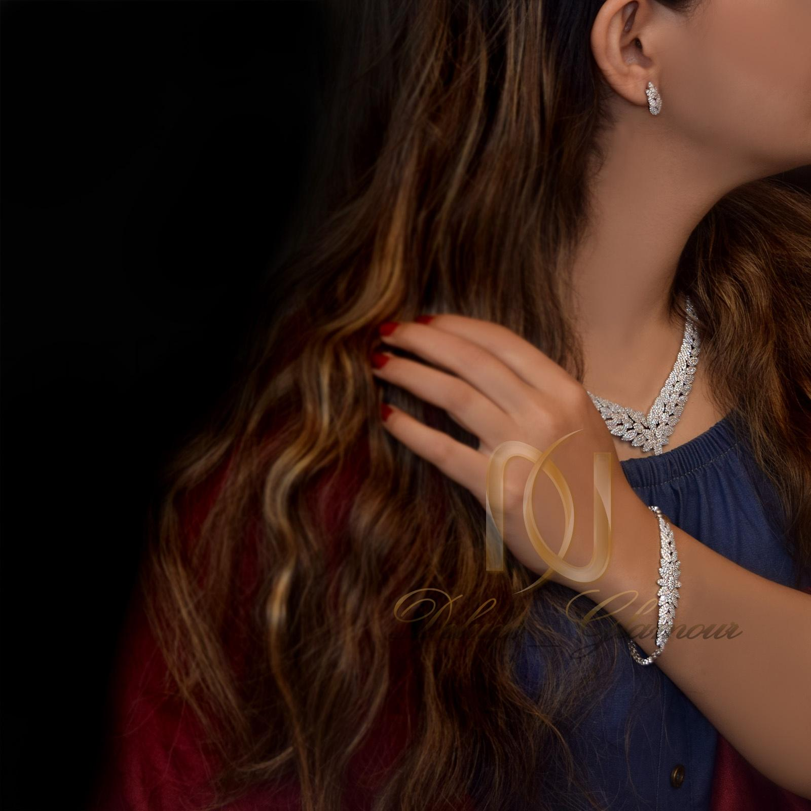 سرويس نقره عروس جواهري نگين برليان NS-N236
