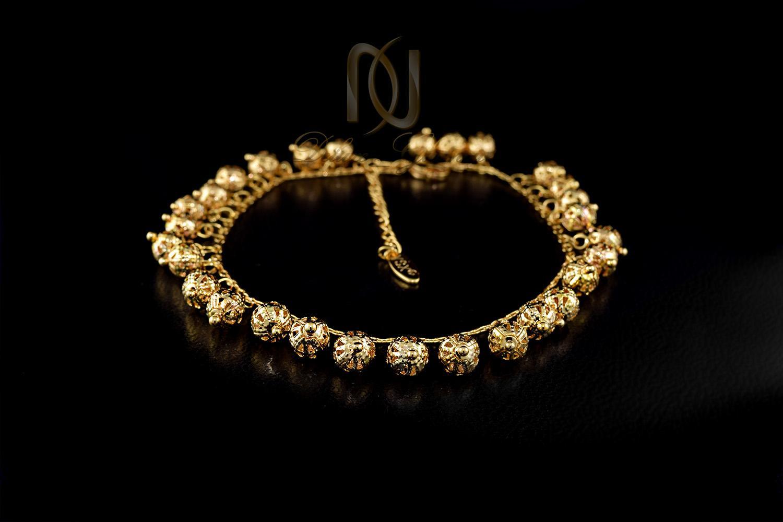پابند دخترانه استيل طلايي طرح توپك pa-n111