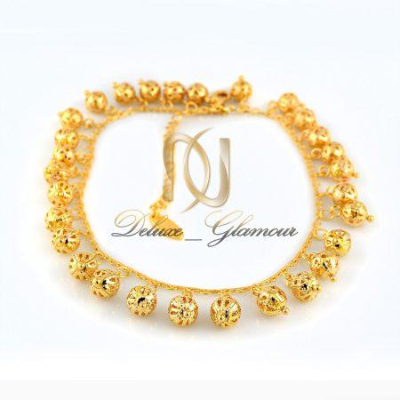 پابند دخترانه استيل طلايي طرح توپك pa-n111 از نماي سفيد