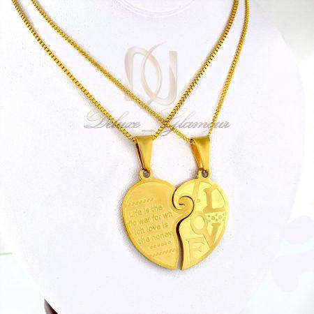 گردنبند ست دخترانه و پسرانه طرح قلب mf-n104 از نماي روبرو
