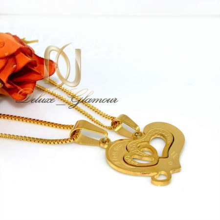 گردنبند ست عاشقانه استیل طرح قلب rg-n306 از نمای سفید