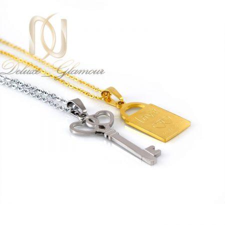 گردنبند ست عاشقانه طرح قفل و كليد mf-n103 از نماي سفيد