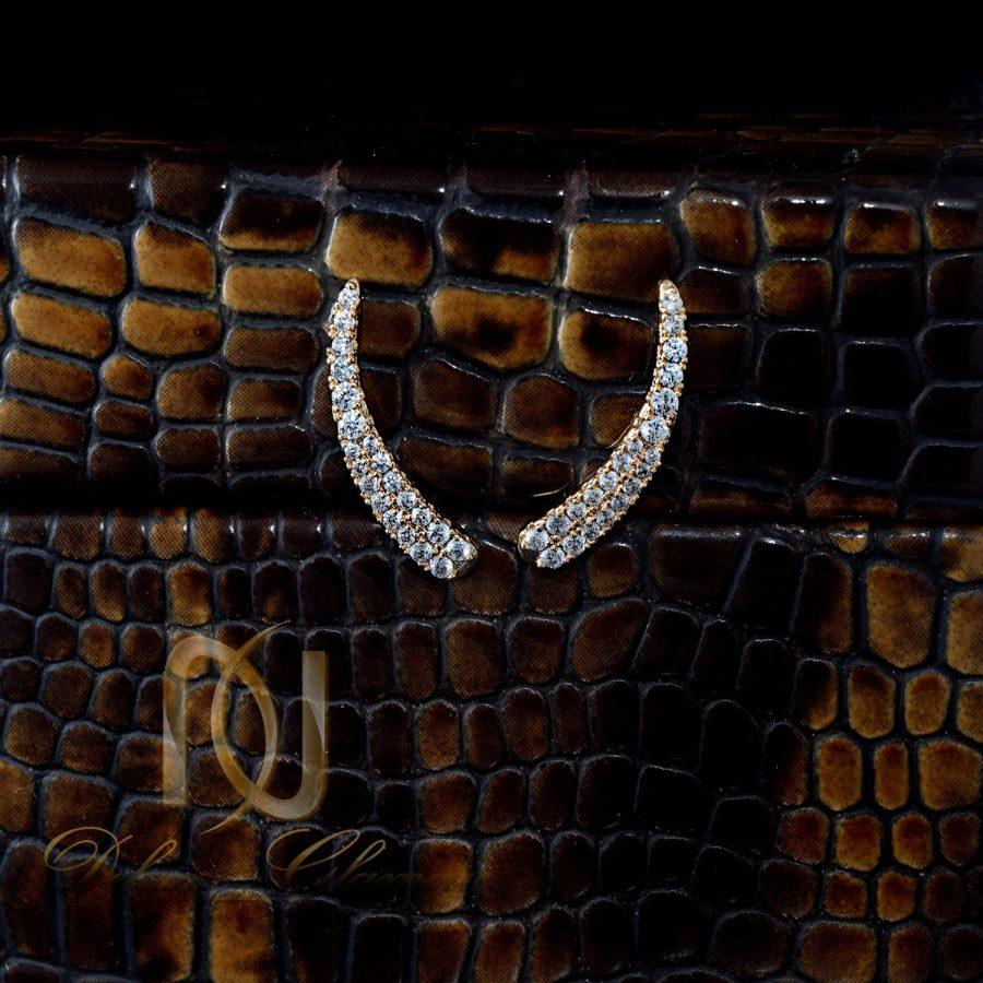 گوشواره لاله گوشی نگین دار هلالی استیل Er-n159 - عکس از روبرو