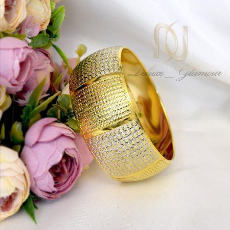 النگو تك پوش نقره دو رنگ طرح طلا al-n110 از نماي روبرو