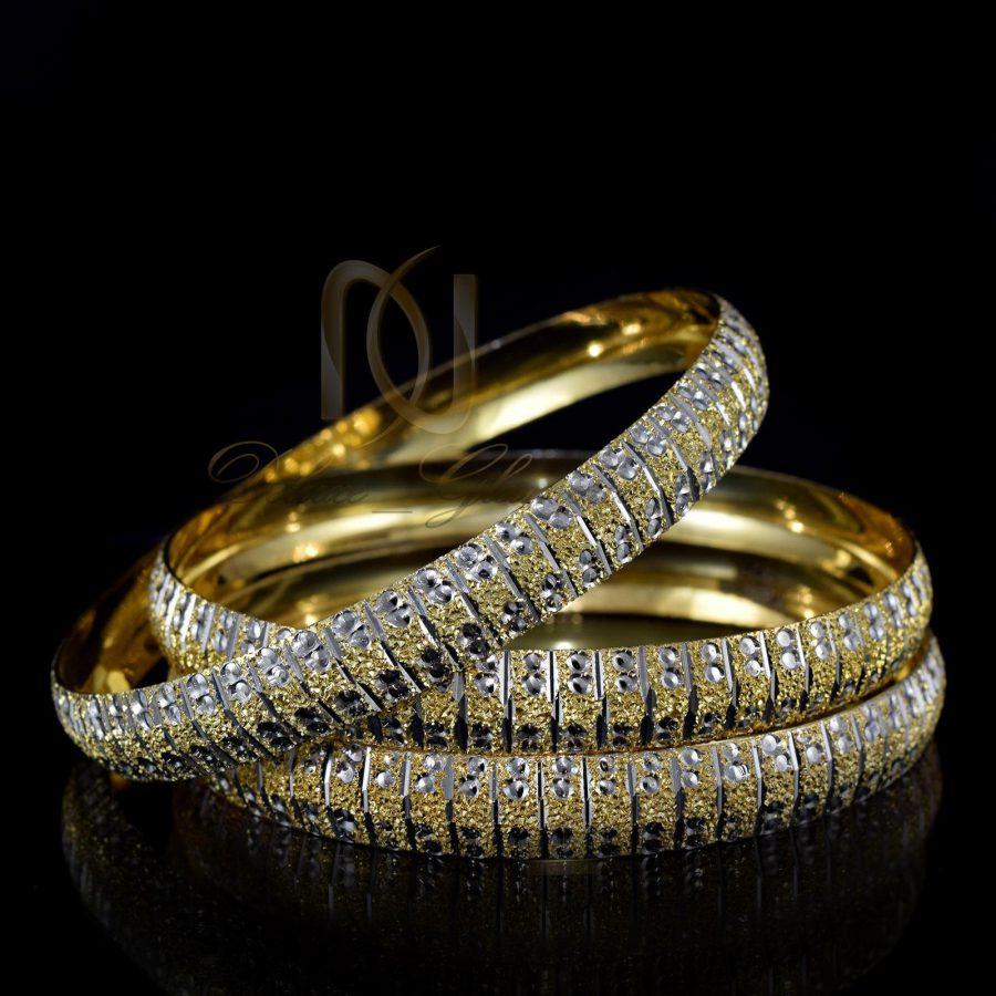 النگو نقره زنانه طرح طلای دو رنگ al-n108 از نمای مشکی
