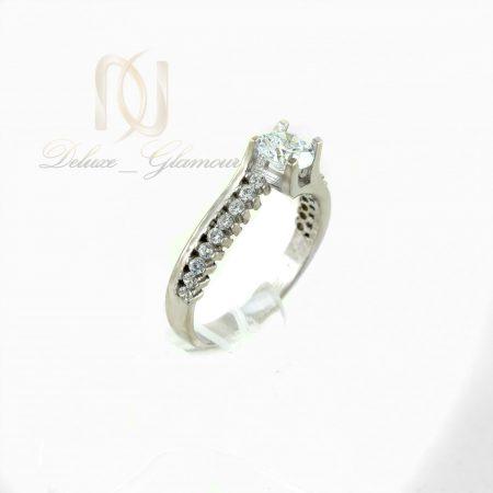 انگشتر نقره دخترانه طرح تك نگين rg-n321 از نماي سفيد