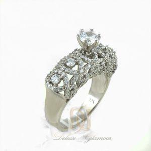 انگشتر نقره زنانه طرح تك نگين rg-n322 از نماي سفيد