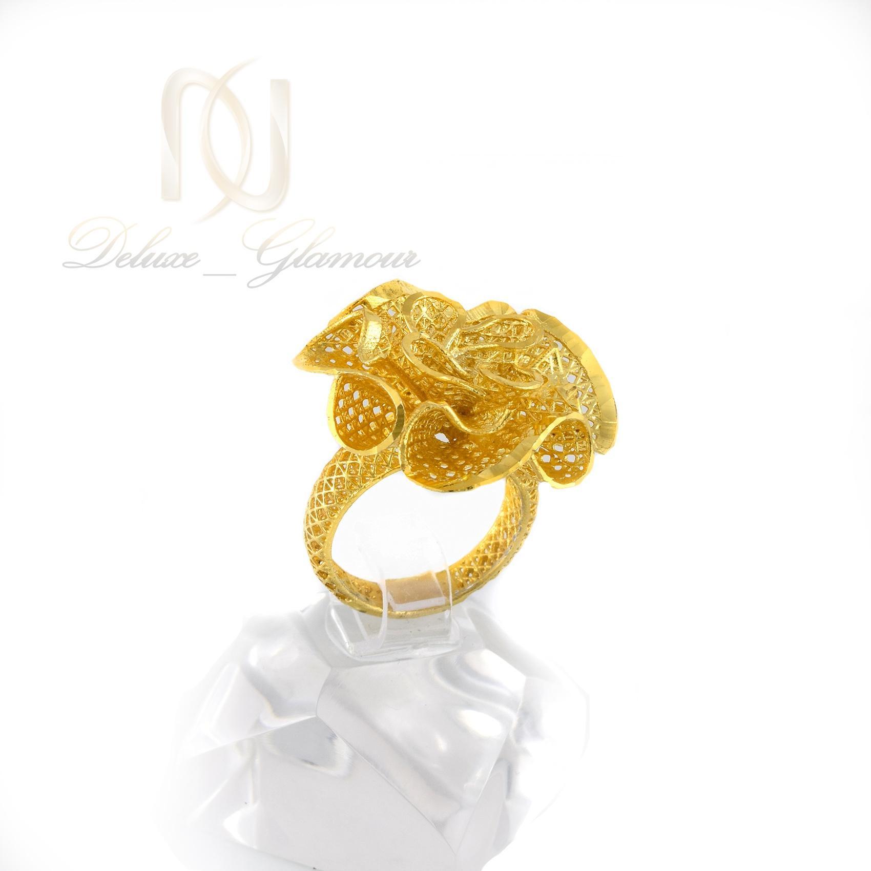 انگشتر نقره زنانه طرح طلاي گل RG-N327 از نماي روبرو