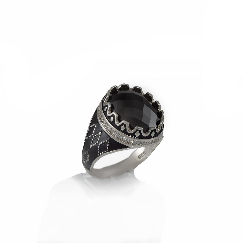 انگشتر نقره مردانه نگين عقيق rg-n334 از نماي روبرو