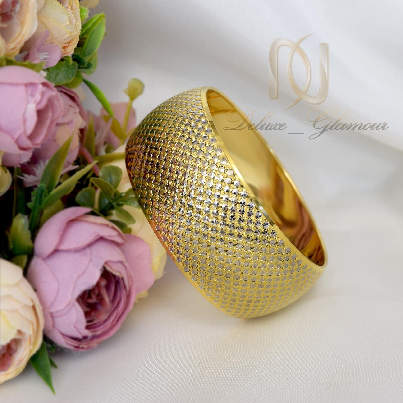 دستبند تك پوش نقره زنانه طرح طلا ds-n303 از نماي روبرو