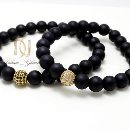 دستبند ست عاشقانه سنگ اونيكس DS-N302 از نمای روبرو