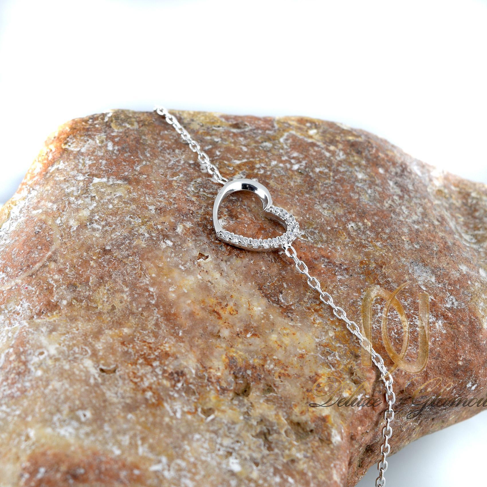 دستبند نقره دخترانه طرح قلب ds-n309
