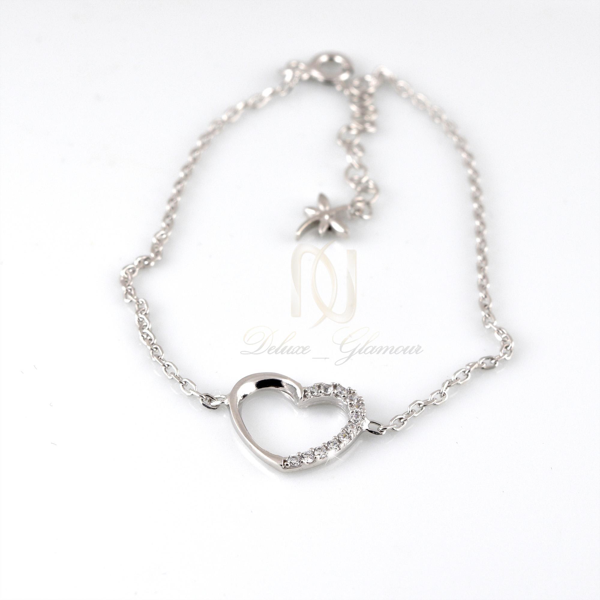 دستبند نقره دخترانه طرح قلب ds-n309 از نماي سفيد