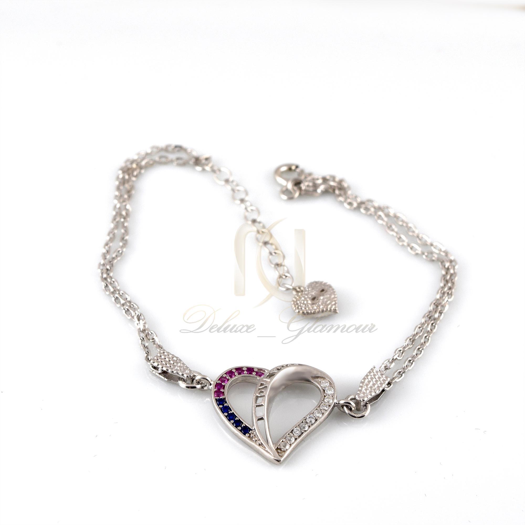 دستبند نقره دخترانه طرح لاو ds-n310 از نماي سفيد