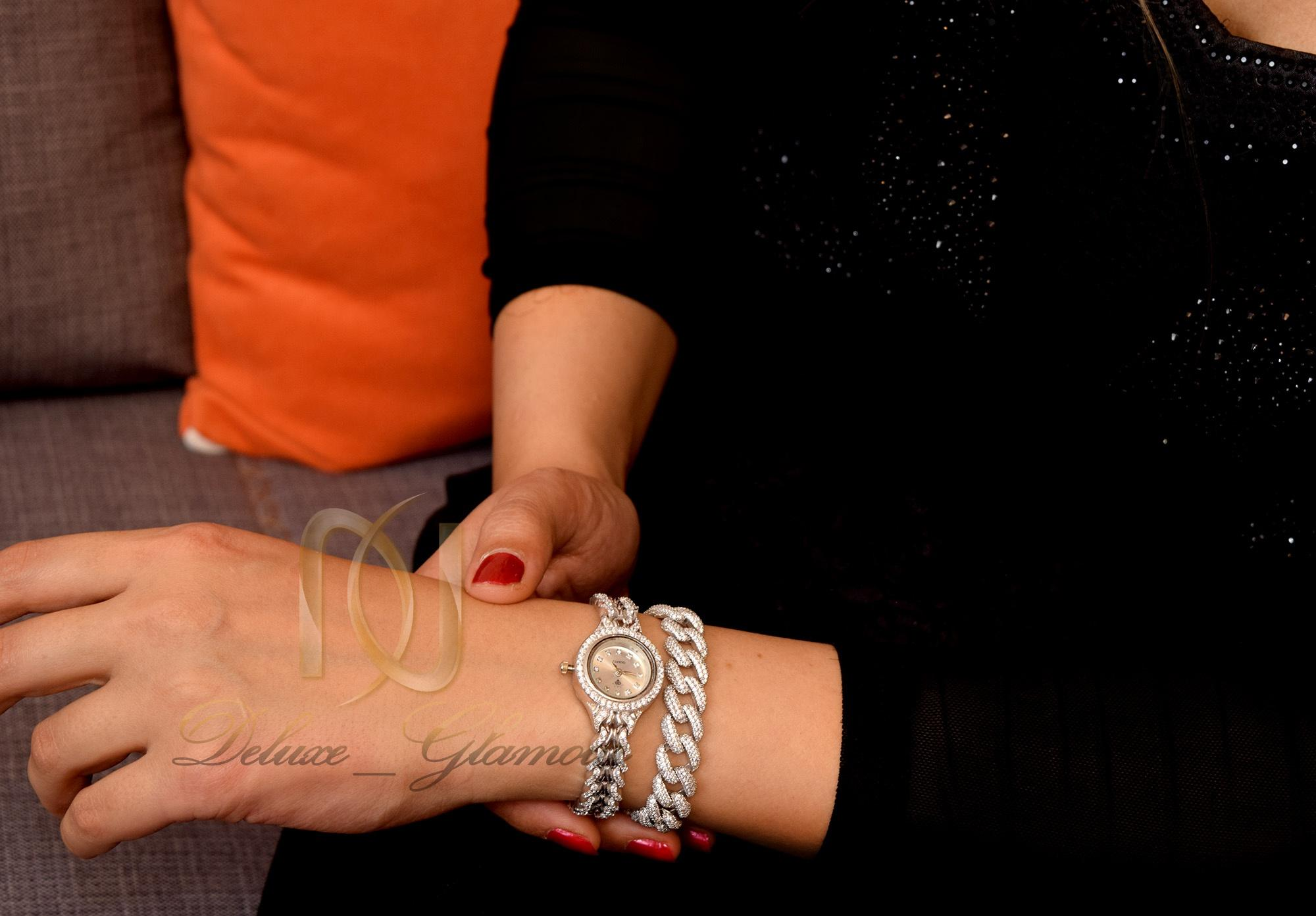 دستبند نقره زنانه طرح كارتيه نگين برليان DS-N296