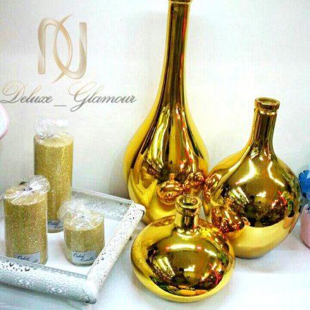ست گلدانهای سالونگی طلايي رنگ ka-n106 از نماي بالا