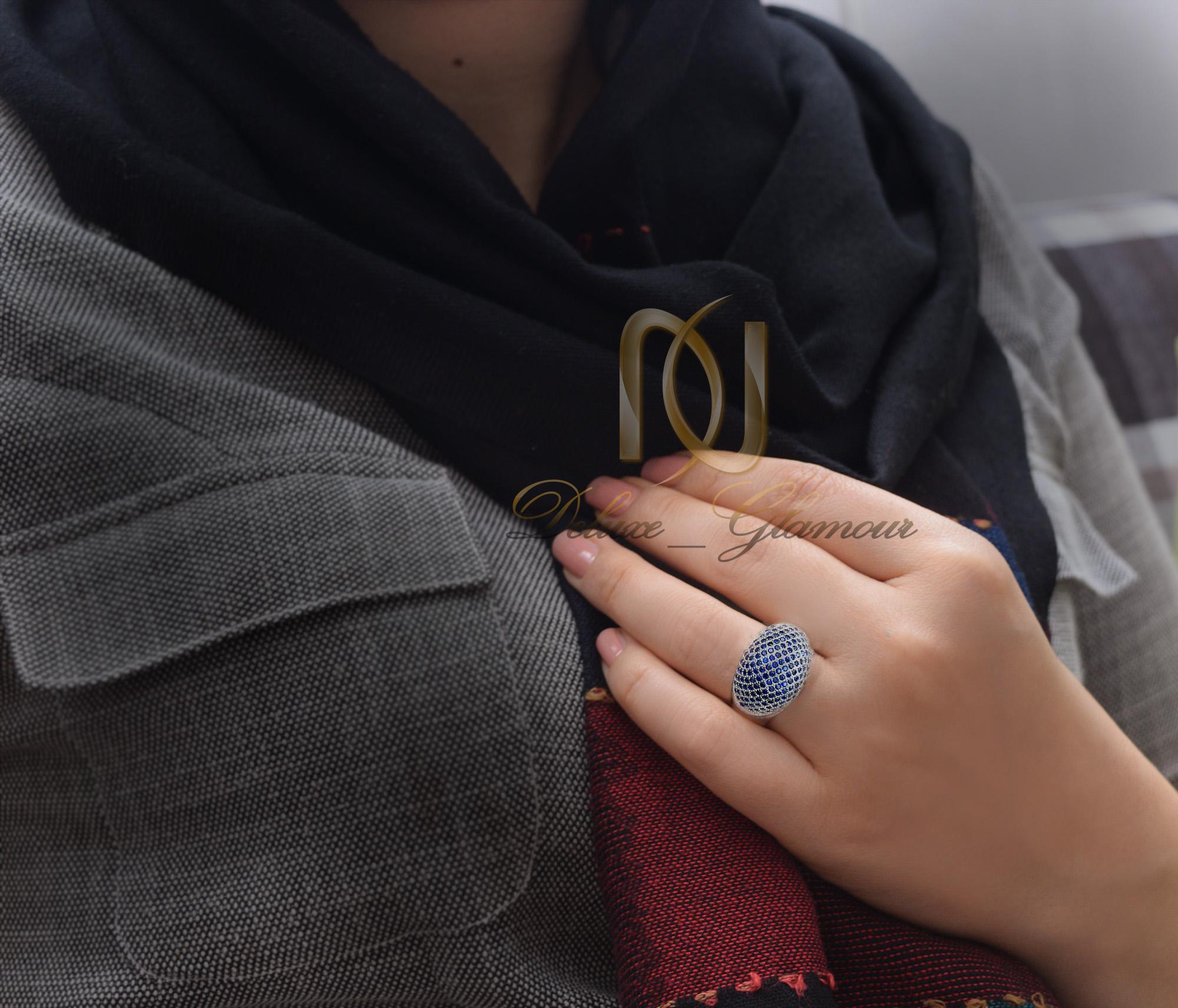 انگشتر زنانه نقره با نگینهای سرمه ای Rg-n348