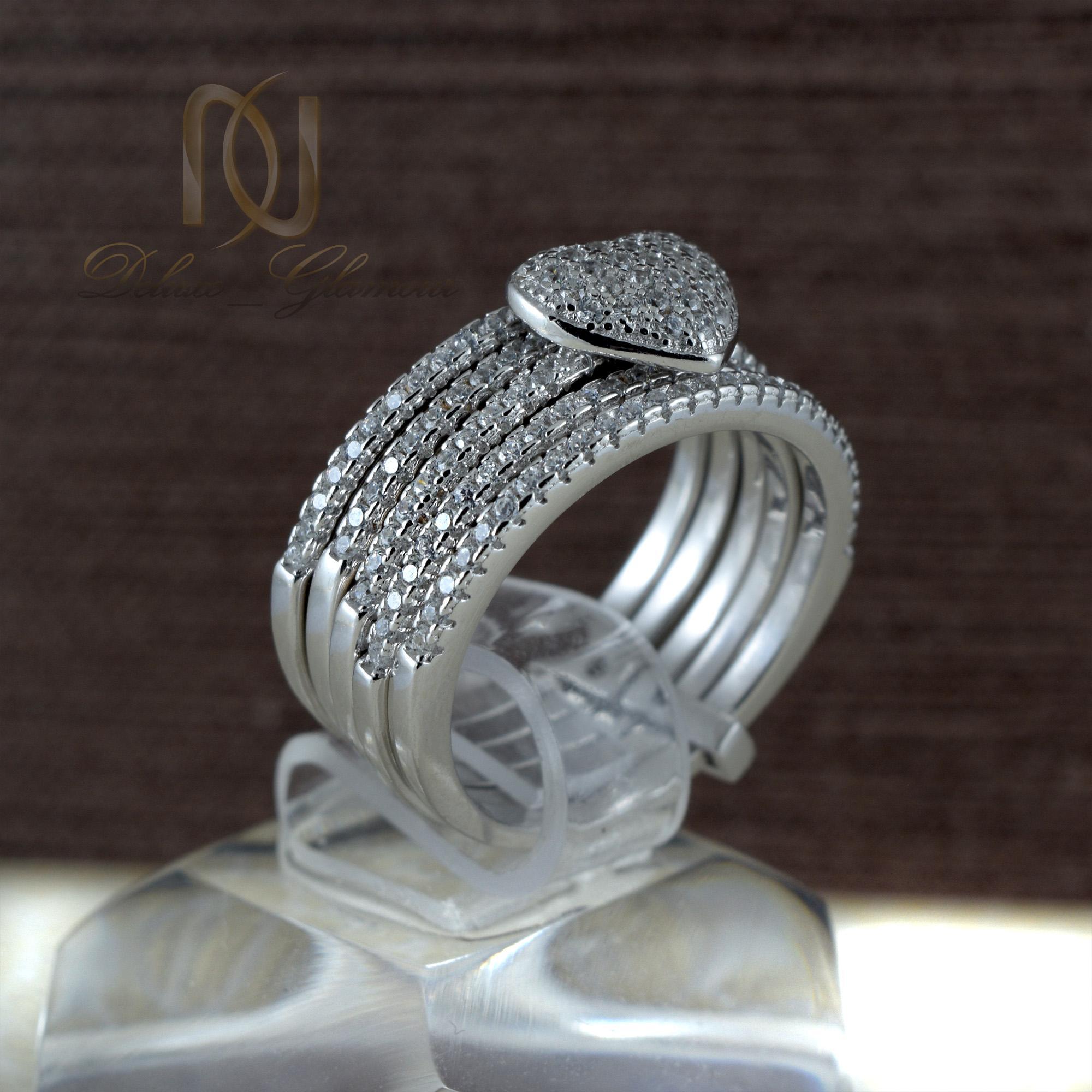 انگشتر نقره دخترانه طرح قلب rg-n347 از نمای مشکی