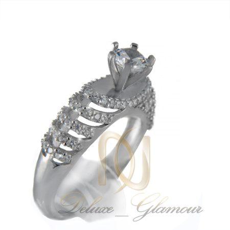 انگشتر نقره زنانه طرح تک نگین rg-n252 از نمای روبرو