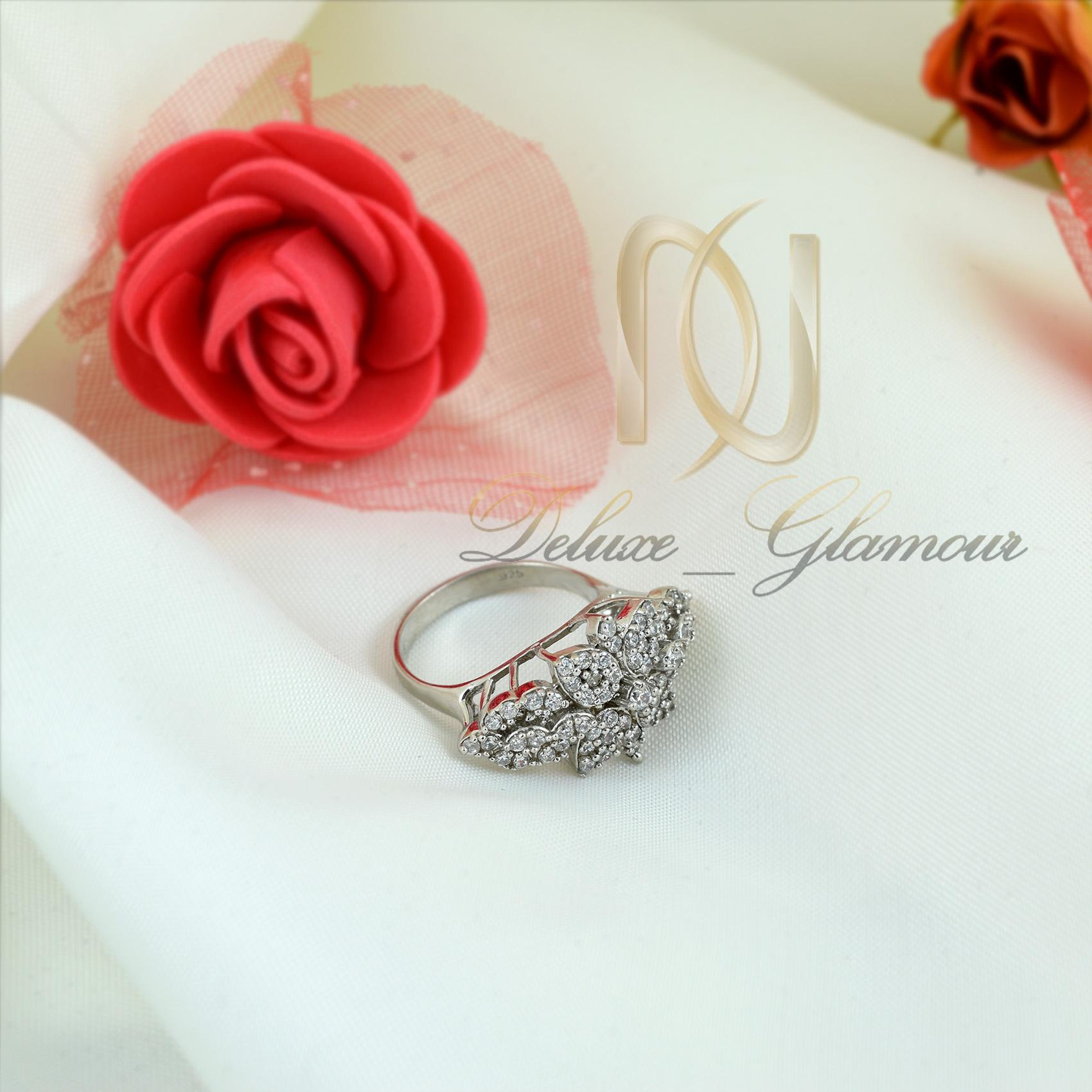 انگشتر نقره زنانه طرح گل rg-n339 از نماي بالا