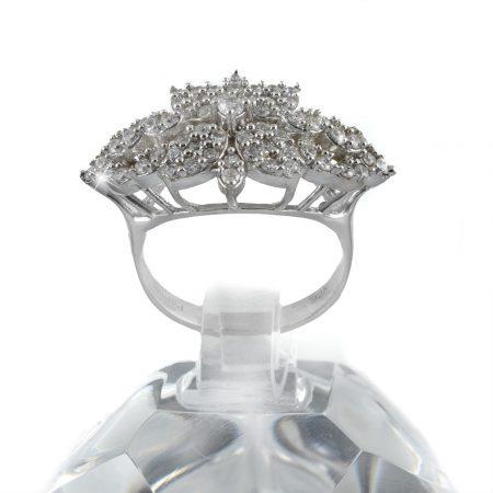 انگشتر نقره زنانه طرح گل rg-n339 از نماي روبرو