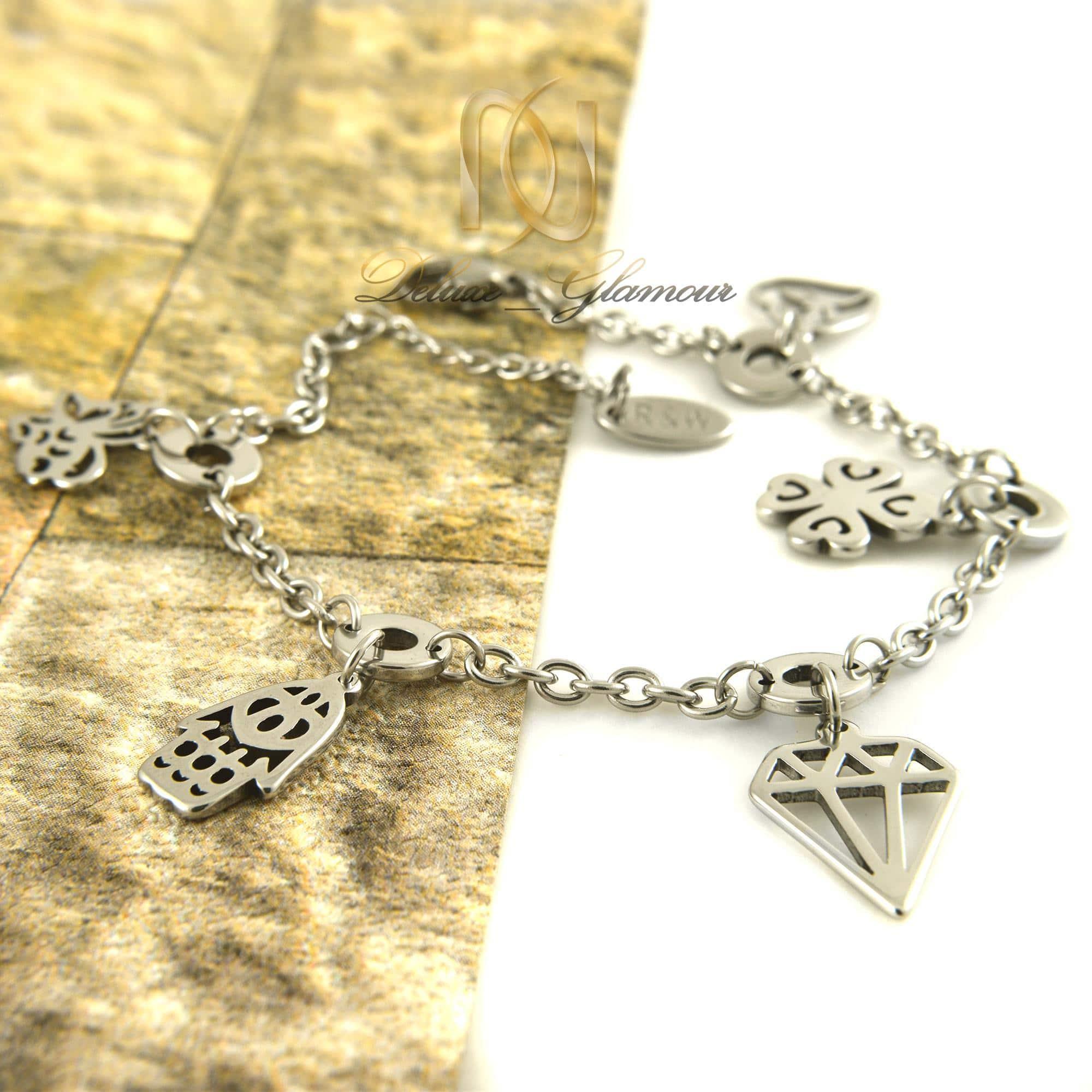 دستبند دخترانه آویزدار استیل ds-n319 از نمای کنار