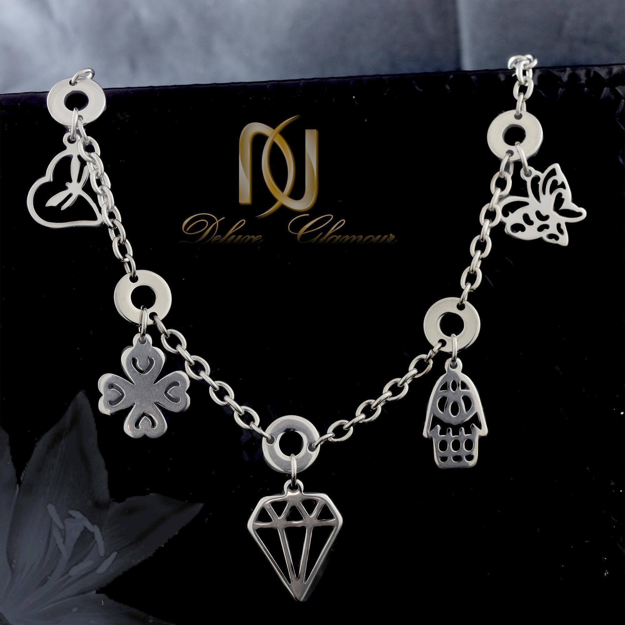 دستبند دخترانه آویزدار استیل ds-n319 از نمای مشکی