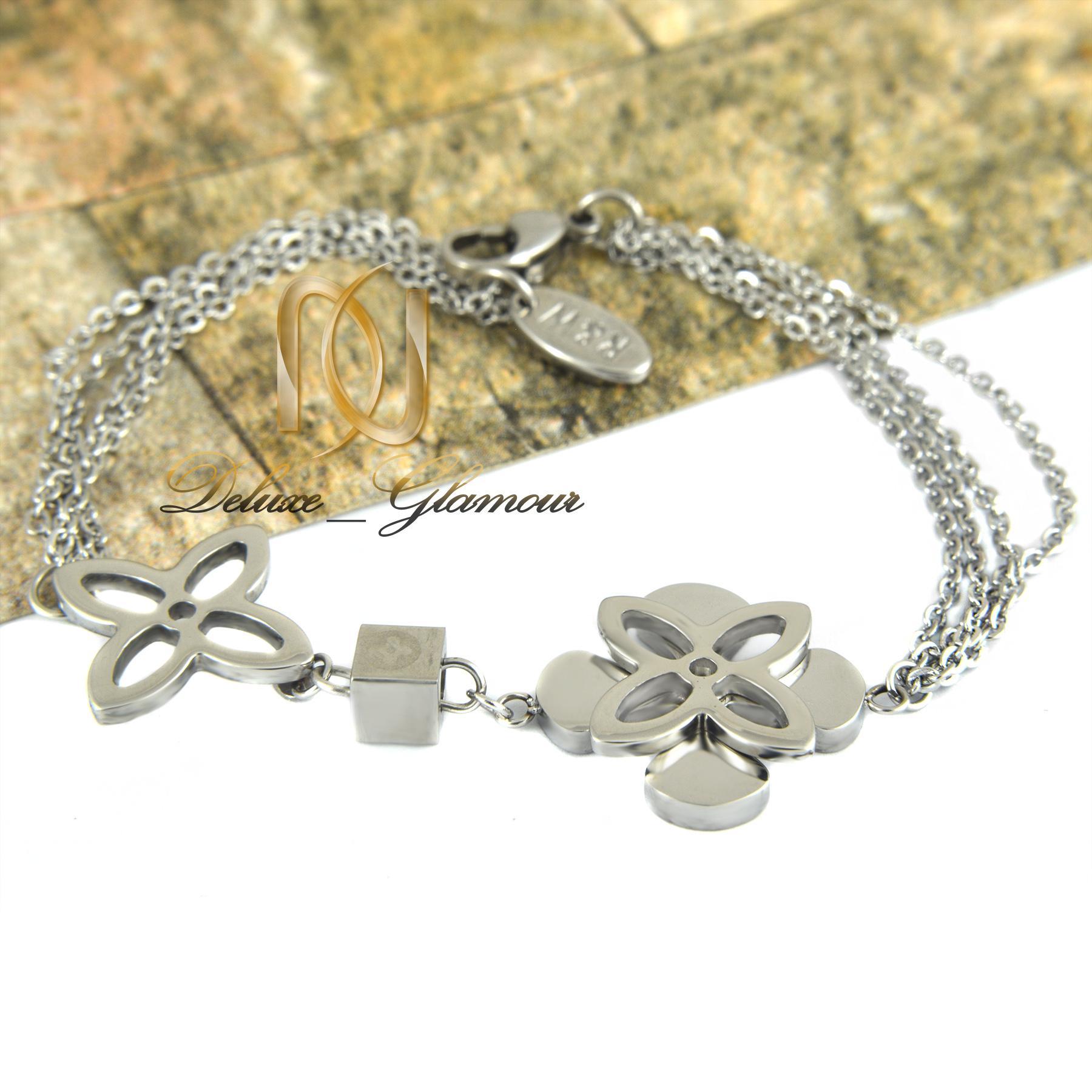 دستبند دخترانه استيل طرح گل ds-n318 از نماي سفيد