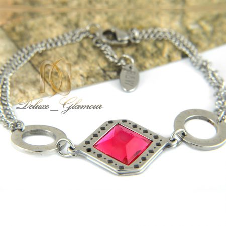 دستبند دخترانه استيل نگين صورتي ds-n317 از نماي روبرو