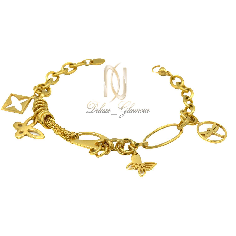 دستبند زنانه آویزدار طرح طلا ds-n322 از نمای سفید