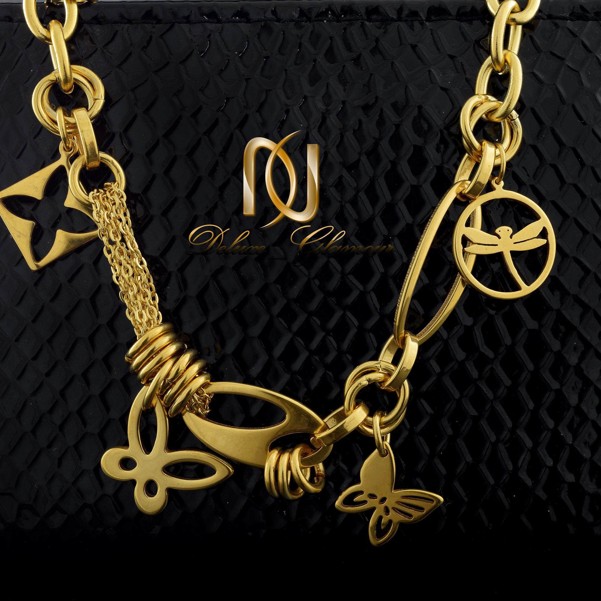 دستبند زنانه آویزدار طرح طلا ds-n322 از نمای مشکی