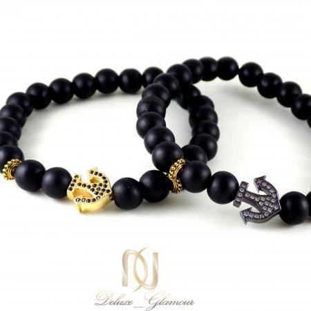 دستبند ست سنگ اونيكس طرح لنگر ds-n328 از نماي بالا